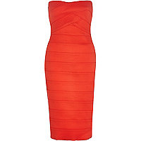 Red bandage bandeau midi dress