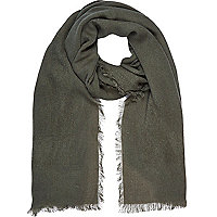 Khaki green gauze laddered scarf