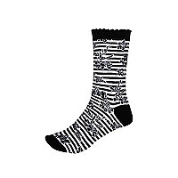 Black and white stripe ankle socks