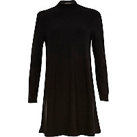 Black turtle neck swing dress