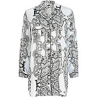 Blue paisley print pyjama night shirt