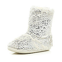 Cream foil faux fur lined boots