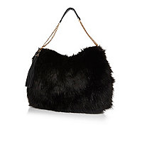 Black faux fur slouch bag