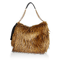 Brown faux fur slouch bag