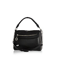 Black large fold over slouch bag