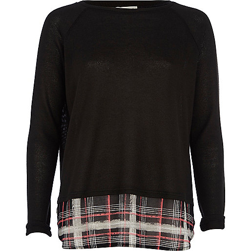 Black tartan print hem jumper
