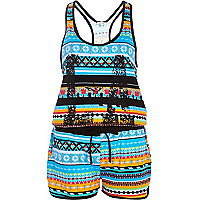 Blue aztec print casual playsuit