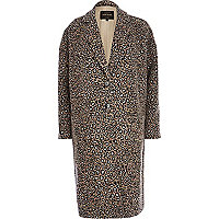 Brown leopard print oversized jacquard coat