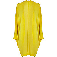Yellow draped longline cardigan