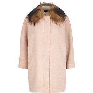 Beige faux fur collar oversized wool coat