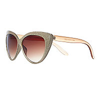 Gold glittery cat eye sunglasses