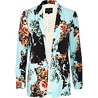 Turquoise floral print open front blazer
