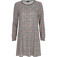 Black check long sleeve swing dress
