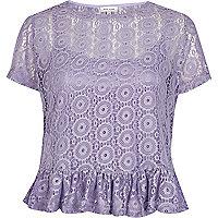Lilac lace peplum t-shirt