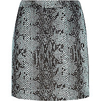 Blue snake print glitter mini skirt