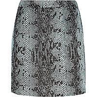 Blue snake print glitter mini skirt