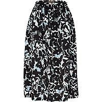 Blue floral print midi skirt