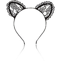 Black lace kitten ears head band