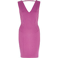 Purple backless bodycon dress