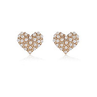 Gold tone faux pearl heart stud earrings