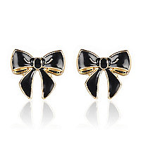 Black enamel bow stud earrings