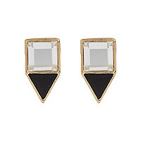 Gold tone triangle stud earrings