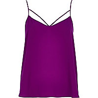 Purple cut out strap cami top