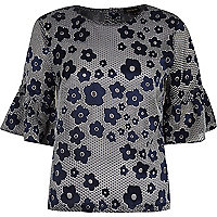 Navy floral print frill sleeve top