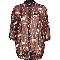 Dark red bug print chiffon wrap back shirt