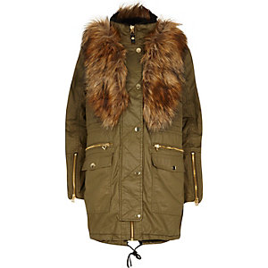 Khaki coated faux fur parka jacket