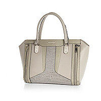 Grey contrast textured panel tote bag
