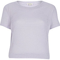 Lilac loose knit split back t-shirt