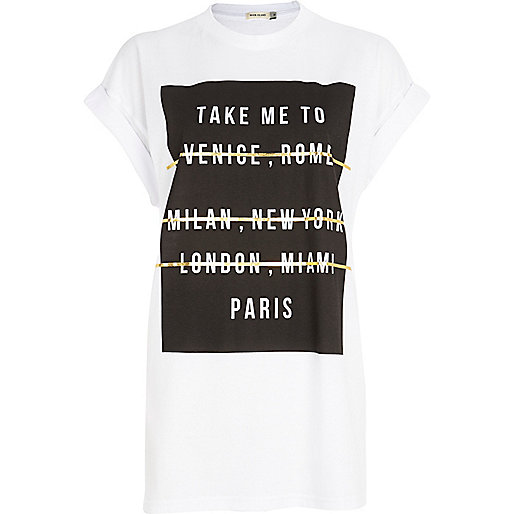 White take me to Paris print t-shirt