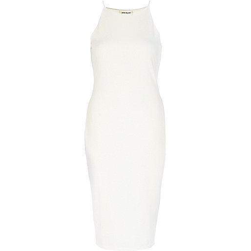 Cream racer front bodycon midi dress