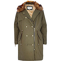 Khaki faux fur collar parka jacket