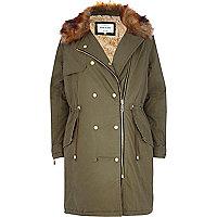 Khaki faux fur collar parka jacket