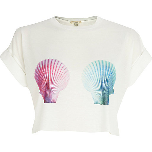 White shell print crop t-shirt