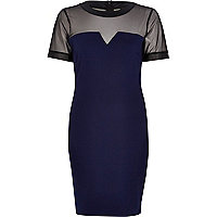 Navy mesh yoke sweetheart bodycon dress