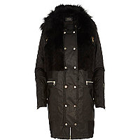 Black coated faux fur trim parka jacket