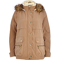 Camel faux fur trim parka jacket