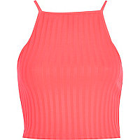 Bright pink square neck rib crop top