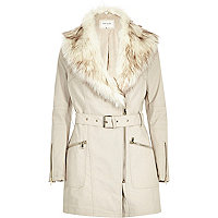 Cream faux fur collar leather-look jacket