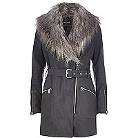 Dark grey faux fur leather-look jacket