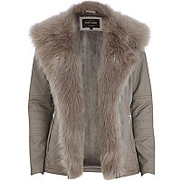 Grey leather-look faux fur jacket