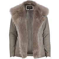 Grey leather-look faux fur jacket