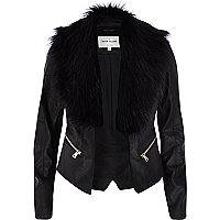 Black leather look faux fur collar jacket