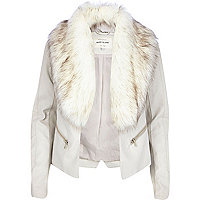 Beige leather-look faux fur collar jacket