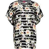 Black floral print mesh stripe t-shirt