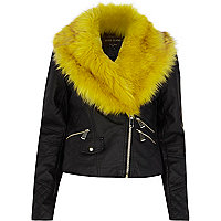 Black leather-look yellow fur biker jacket