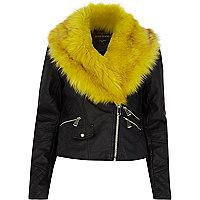 Black leather-look yellow fur biker jacket